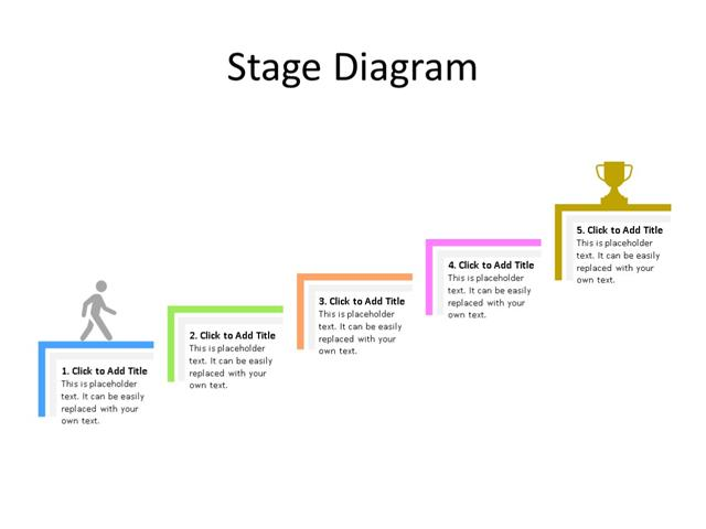PowerPoint Slide - Stairs Diagram - 5 Stages - Multicolor