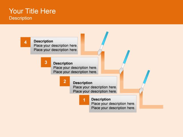 powerpoint slide step up process diagram brushes 4. Black Bedroom Furniture Sets. Home Design Ideas