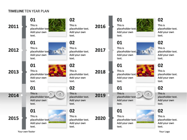 powerpoint slide timeline diagram 10 years illustrated p34 8