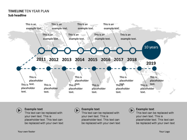 powerpoint slide timeline diagram 10 years world map p34 12
