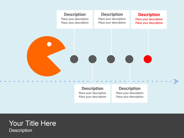 powerpoint slide timeline diagram pac man circles 5 blocks