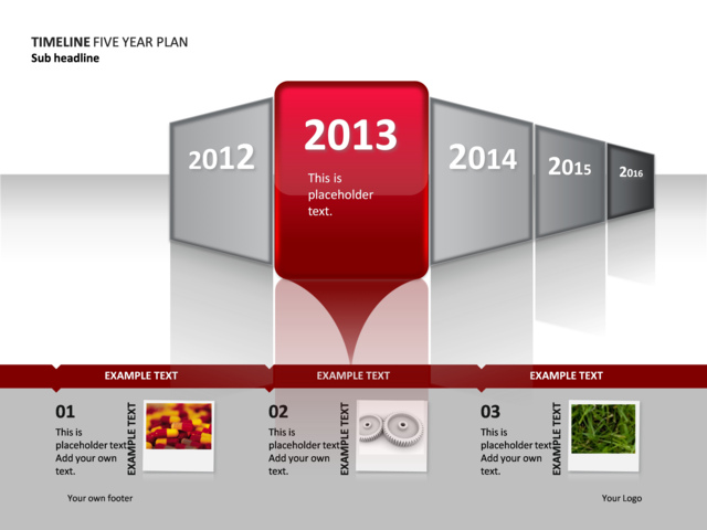 powerpoint slide timeline diagram year 2 of 5 p34 2 crystalgraphics
