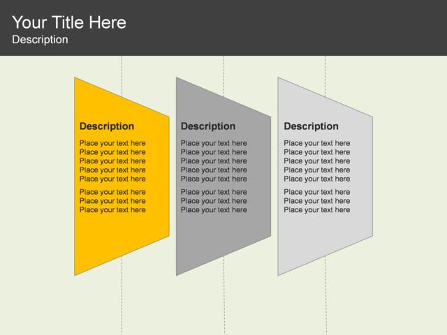 powerpoint slide - trapezoid list diagram - 3 blocks - yellow, Powerpoint templates