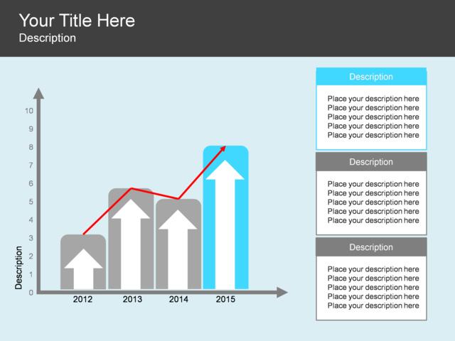 powerpoint slide - upward arrow diagram - graph - 3 blocks - blue, Powerpoint templates